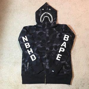 BAPE x NBHD Black Camo Shark Hoodie